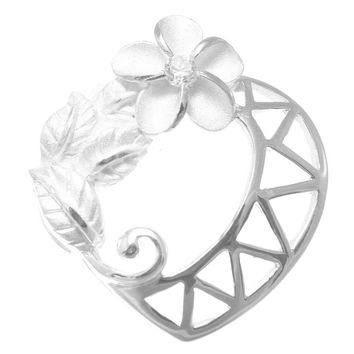 SILVER 925 HAWAIIAN PLUMERIA CZ MAILE LEAF LEAVES HEART DESIGN SLIDE PENDANT