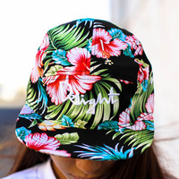 Black Hawaii Floral 5 Panel Strapback — Delight Brand Clothing