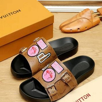 LV Women Fashion Casual Heels Shoes Sandals Shoes