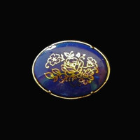 Oval Flower Brooch Pin, With Gold Enamel Flower Design, On Cobalt Blue Glass
