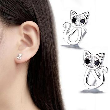 Real Silver And Crystal Zircon Cat Stud Earrings - 925 Silver