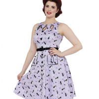 Voodoo Vixen Retro Kitties Keyhole Swing Dress