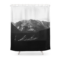 Society6 The Rockies | Grayscale Shower Curtain