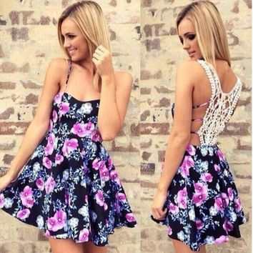 Fashion Women Flower Print Lace Back Patchwork Strap Hollow Dress I