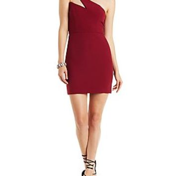 RE:NAMED ONE-SHOULDER PONTE KNIT BODYCON DRESS