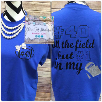 Football Mom or Football Girlfriend Shirt. Glitter Football with Glitter Bow. Football Mom Shirt. Football Girlfriend Shirt. Monogram Gifts
