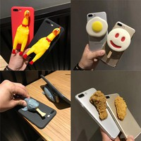 Funny Squishy 3D Shark Chicken Egg Ice Cream Fried TPU Phone Case For iPhone 6s Plus 7 8 Plus