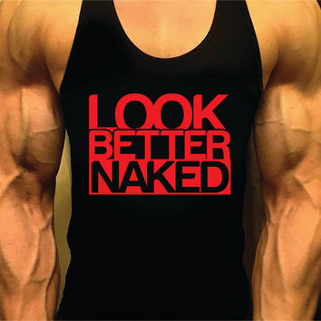 Bodybuilding Workout Tank Top Look Better Naked Stringer for Men Muscle Racerback Singlet Y-Back Fitness Shirt