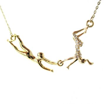 Flying Trapeze Acrobat Pendant Gymnastic Circus Themed Necklace in Gold | DOTOLY