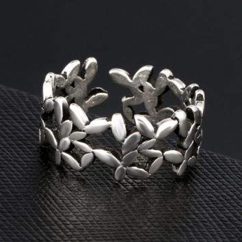 Retro Silver S925 Leaf Branch Openable Ring