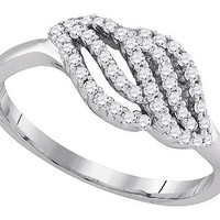 Diamond Fashion Ring in 10k White Gold 0.32 ctw