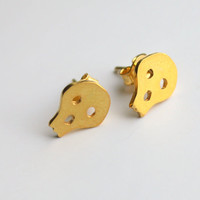Simple Sweet Skull Stud Earrings Gold Plated Sterling by meltemsem