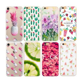 Pineapple iPhone Case - Flowers Cover For iphone 4 4s 5 5s se 6 6s plus 7 7plus 8 8plus Case