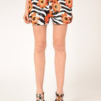 Ashish Sequin Shorts In Zebra Flower at asos.com