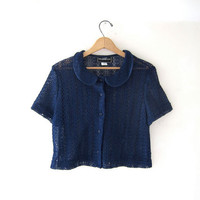 vintage cut out top. sheer cropped shirt. button front crochet top.