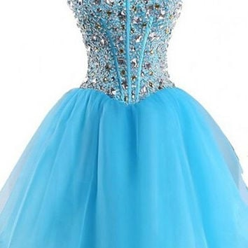 Strapless Elegant Blue Beaded Lace-up Homecoming Dresses