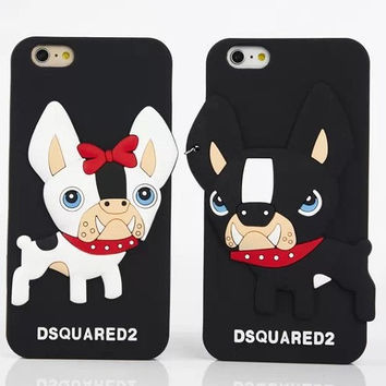 New Arrival 3D Cartoon Lovely Dsquare Couple Dog Soft Silicon Case Cover For iphone5 5S/6S 6PIus Free Shipping C009