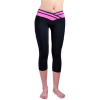 Women's V-Waist Stripped Leggings Gym Workout Exercise Athletic