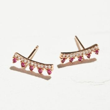 Free People 14k Ruby & Diamond Maiden Ear Climbers