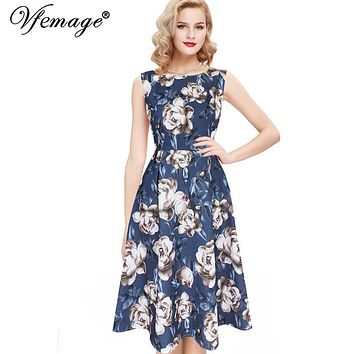 Vfemage Womens Elegant Vintage Polka Dot Floral Flower Print Tunic Wear To Work Office Casual Party A-Line Skater Dress 2588