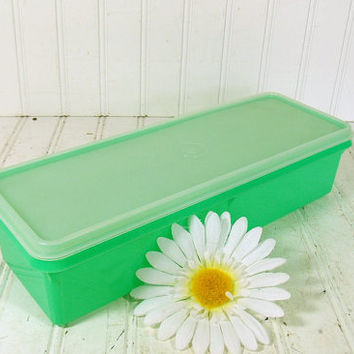 Vintage TupperWare Green Celery Crisper Keeper - Retro Plastic Ice Cube Tray Carrier 2 Pieces - TupperSeals Original Complete Set
