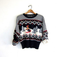 vintage ugly Christmas sweater // tacky christmas sweater // holiday party sweater. size S-M