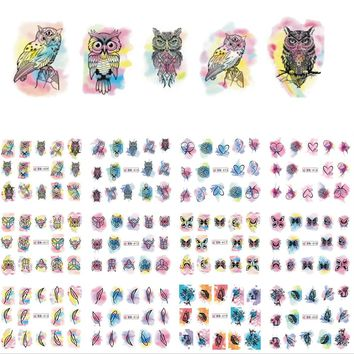 12 Designs/Set  Beauty Watercolor Flower Owl Nail Art Sticker Decals Nails Decorations DIY Tattoos Manicure Tools SABN409-420N