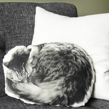 SLEEPING CAT Canvas Printed Pillow by intheseam on Etsy