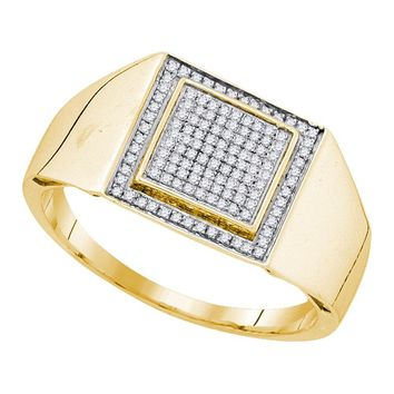 Yellow-tone Sterling Silver Mens Round Diamond Square Frame Cluster Ring 1/4 Cttw
