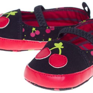Cherry Mary Janes Kid's Red/Black By Sourpuss