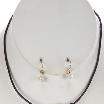 Brown Knotted Rubber Cord Pearl Trio Bib Necklace And Earring Set