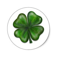 4 leaf clover round sticker from Zazzle.com