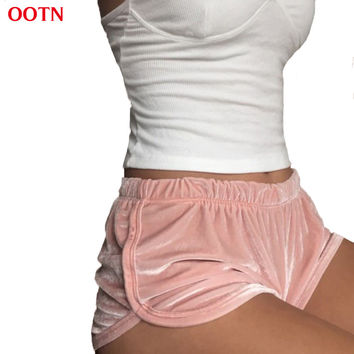 OOTN Soft Velvet Shorts Women Fitness Solid Pink Blue Flannel Fashion Fit Mid Waist Spring Outwear Sexy Elegant Summer Clothing