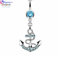 SUSENSTONE Anchor Bend Dangle Button Barbell Belly Navel Ring Bar Body Piercing