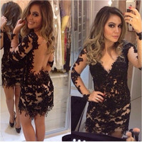 Vestido De Fiesta Sexy 2016 Short Prom Dresses Long Sleeves Black V-neck Bodice Sheer Back Mini Lace Length Party Dress