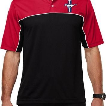 Yoga Clothing for You Mens Ford Legend Lives Crest (Pocket Print) Polo Shirt - Red/Bla