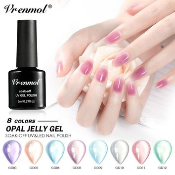 Vrenmol Opal Jelly Gel Nail Polish Nail Art Gel Varnish UV LED Semi Transparent Permanent Soak Off Gel Vernis Manicure