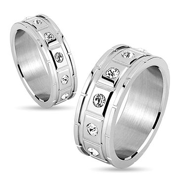 Square Grooved with 12 CZ Stainless Steel Couple Ring