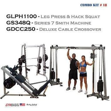 Body-Solid Set: GDCC250 Crossover | GLPH1100 Leg Press Hack Squat | GS348Q Smith