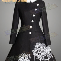 """Next Station"" Steampunk Bias Front Mandarin Collar Warm Wool Coat*4color"