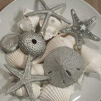 Beach Christmas Decor, Beach Wedding Decor, Silver Beach Decor, Christmas Ornament, Starfish, Shells, Nautical Decor, Beach Wedding Favors