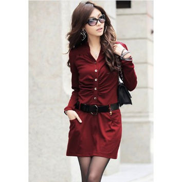 Wine Red Long Sleeve Shirt Dress with Belt