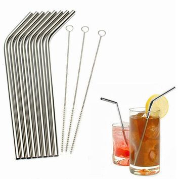 DCCKL72 New Arrival 2016 Hot Sale Stainless Steel Metal Drinking Straw Reusable Straws and Cleaner Brush Set