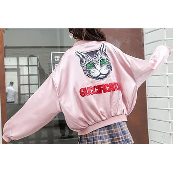 Gucci Trending Women Cute Thin Silks And Satins Surface Sequins Letter Cat Print Long Sleeve Zipper Coat Jacket Baseball Uniform Pink