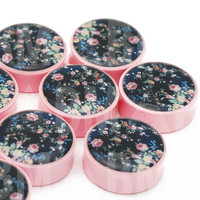 Vintage Floral Rose Pink Power Plugs BMA (6mm-27mm)
