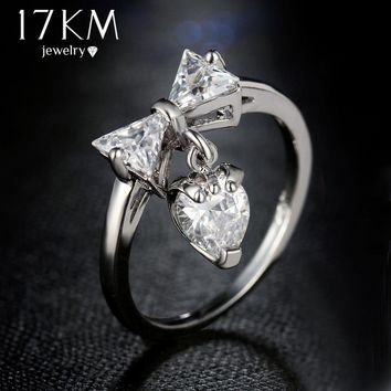 17KM Boho New Issued Cubic Zircon Bow Tie Rings For Women Bijoux Sliver Color Ring Jewelry Wedding Ladies Gift Top Quality