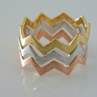 Rose Gold Ring - Geometric Chevron Ring - Stacking Band Ring - Knuckle Ring