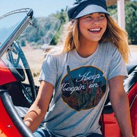 Vintage inspired graphic t shirt with Keepin On desert graphic print