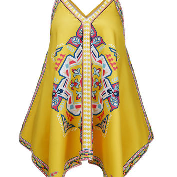 Yellow Tribal Print Asymmetrical Summer Holiday Tank Top