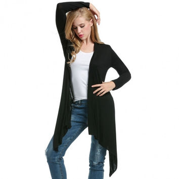 Women Casual Long Sleeve Solid Waterfall Asymmetric Hem Drape Long Cardigan Outwear